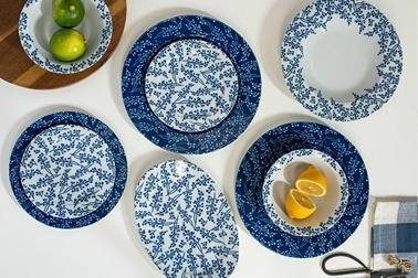 Porland 04Por033141 Nifty 32 Parça 6 Kişilik Mavi Desenli Yemek Takımı Renkli